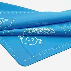 Силиконовый коврик для выпечки антипригарный, большой 62*42 / Силіконовий килимок для випічки ( синий)