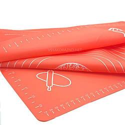 Силиконовый коврик для выпечки антипригарный, большой 62*42 / Силіконовий килимок для випічки (помаранжевий)