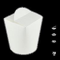 "Упаковка для Лапши 750мл, ""Ю"" Белая, 1уп/50шт (1ящ/6уп/300шт), фото 1"