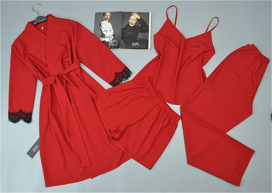 Красный халат и пижама тройка комплект 206-203.