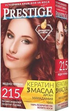 Стойкая крем краска для волос Prestige 215 медно-красный, Престиж