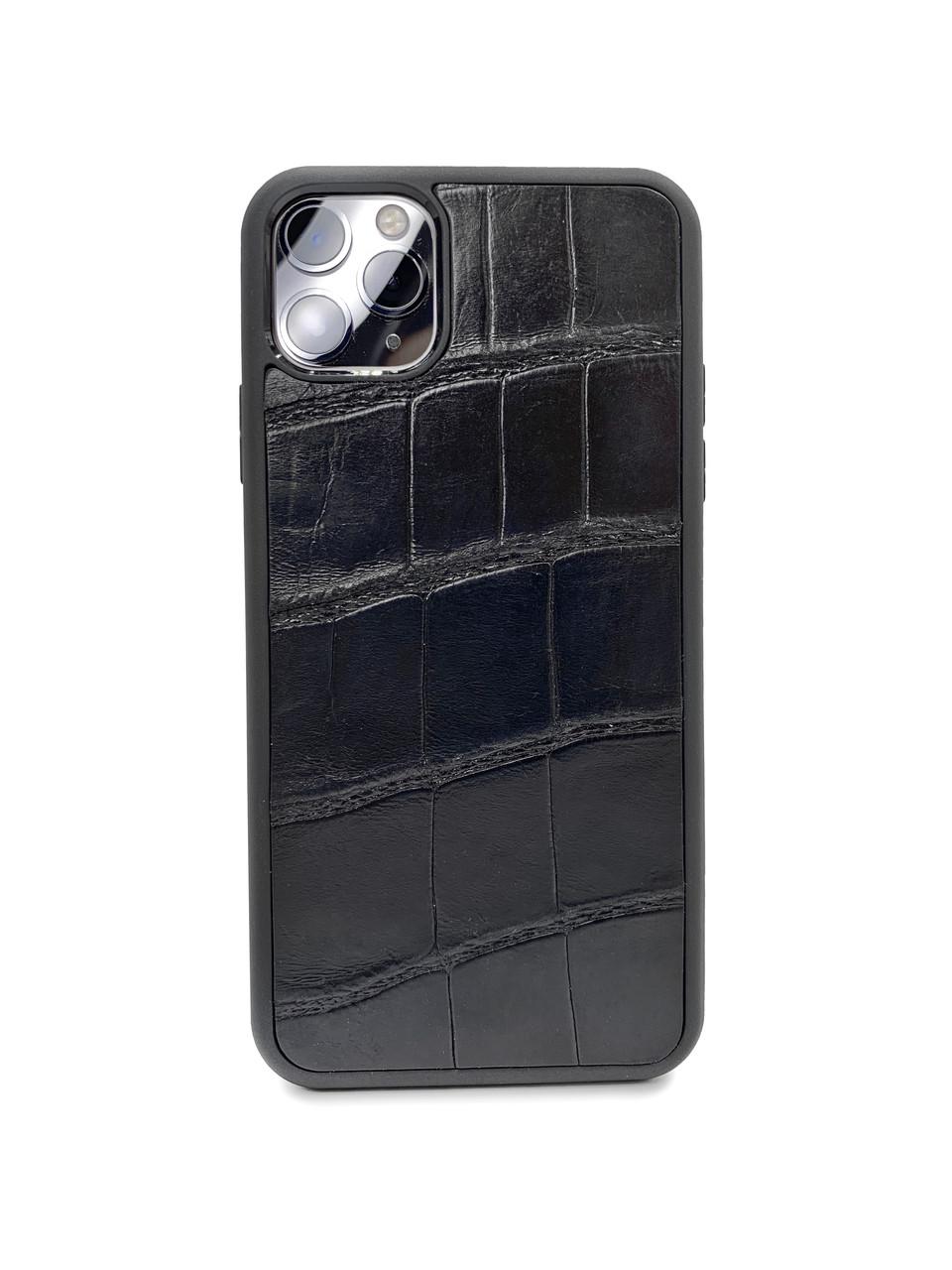 Чехол для iPhone 12 Pro Max чёрного цвета из кожи Крокодила
