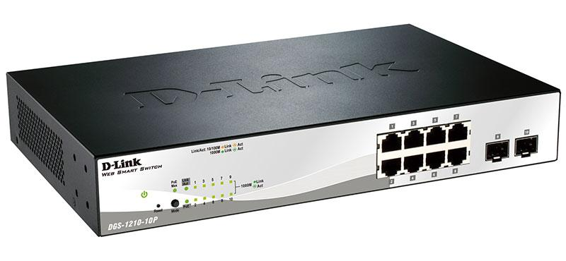 Комутатор D-Link DGS-1210-10 (WebSmart, 8*10/100/1000Base-T, 2*1000Base-X SFP) (код 78187)