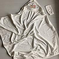 Полотенце-уголок с капюшоном и рукавичкой Поровозик