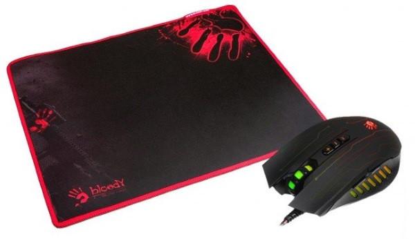 Миша A4 Tech Q8181S Bloody ігрова  Bloody Q81+ ігровий килимок Bloody 350x280x0,2 мм (Bundle) (код 96381)