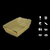 Тарелка-лодочка крафт, БЕЗ ламинации, верх 145х100 дно 110х70 высота 40мм 50шт/уп
