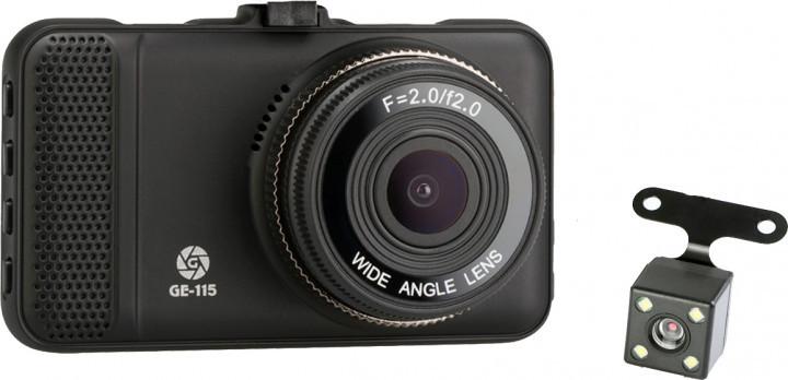 Відеореєстратор Globex GE-115; роздільна здатність відео 1920x1080; кут огляду 120°; формати відео AVI,MJPEG