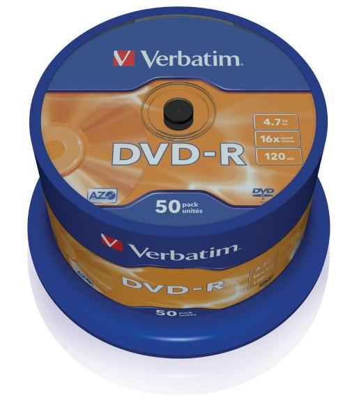 Disc DVD-R 4,7GB Verbatim 16x Matt Silver  Spindle 50рсs (43791) (код 75631)