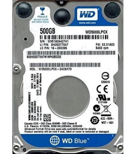 Жорсткий диск HDD Mobile 2.5'' 500GB WD Blue  5400rpm, 16MB, SATA3 (6GB/S)   (WD5000LPCX) (код 80187)