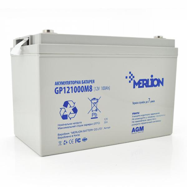 Акумуляторна батарея MERLION AGM GP121000M8, 12V 100Ah (345 x 182 x 275) White (код 115429)