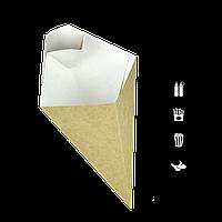 Упаковка КАРТОПЛЯ ФРІ, Крафт 80*200мм, 300мл (+соус 20мл), уп/40шт (1ящ/10уп/400шт) Eco cone L, фото 1