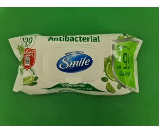 Влажная салфетка  SMAILE 100шт Antibacterial  с клапаном (1 пач)