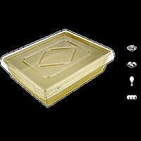 Тарелка-лодочка с крышкой 900 мл, КРАФТ с ламинацией, 50шт/уп, 200шт/ящ, фото 1