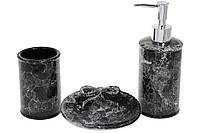 Набор для ванной Черный мрамор:дозатор 350мл, стакан для зубных щеток 250мл, мыльница, цвет - черный мрамор