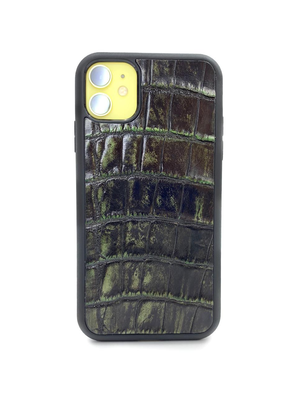 Чехол для iPhone 12 цвета зелёный винтаж из кожи Крокодила