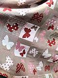 Ткань декративная красные и белые бабочки, фон капучино, фото 2