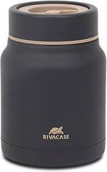 Термос харчовий RIVACASE 0.5 L чорний, подвійні стінки, збереження тепла 8 -12 годин, з відділенням для