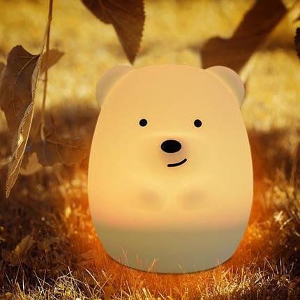 Силиконовая светлодиодная лампа Colorful Silicone Bear, фото 2