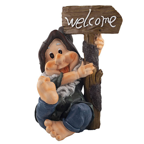 Садовая фигура Decoline Гном сидит Welcome (полистоун) F4023(P)