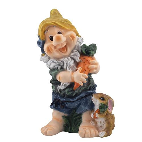"""Садова фігура Decoline """"Гном з кроликом та морквою (полістоун) G0148(P)"""