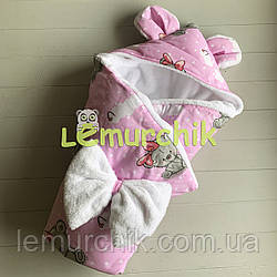 Конверт-одеяло с капюшоном и ушками, на махре Мишка girl, розовый