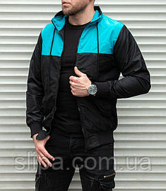 Мужская ветровка без капюшона на молнии , черная с синим