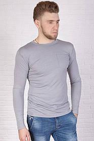 Лонгслив классический с карманом на груди, серого цвета