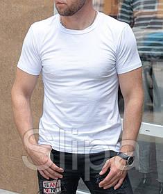 Мужская белая футболка классическая, короткий рукав