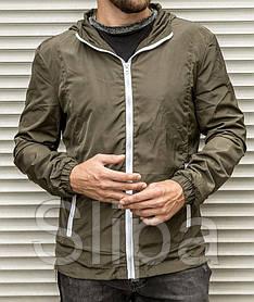 Мужская ветровка цвета хаки с капюшоном , из плащевки