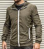 Мужская ветровка цвета хаки с капюшоном , из плащевки, фото 2