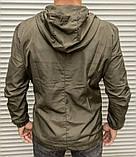 Мужская ветровка цвета хаки с капюшоном , из плащевки, фото 3