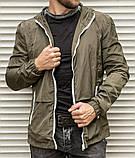 Мужская ветровка цвета хаки с капюшоном , из плащевки, фото 4