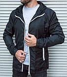 Черная мужская ветровка с капюшоном, белые тракторные молнии, фото 7
