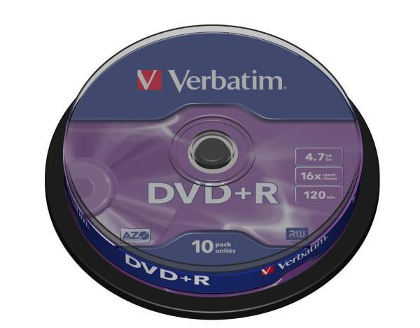 Disc DVD+R 4,7GB Verbatim 16x Silver  Cake 10pcs (43498) (код 44145)