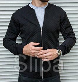 Мужская кофта бомбер Ромбик, черного цвета на молнии без капюшона