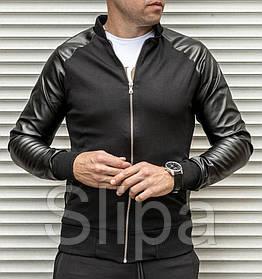 Мужская кофта бомбер с кожаными рукавами, черного цвета