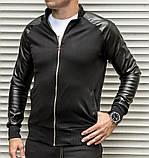 Мужская кофта бомбер с кожаными рукавами, черного цвета, фото 2
