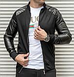 Мужская кофта бомбер с кожаными рукавами, черного цвета, фото 3