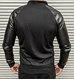 Мужская кофта бомбер с кожаными рукавами, черного цвета, фото 4