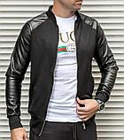 Мужская кофта бомбер с кожаными рукавами, черного цвета, фото 5