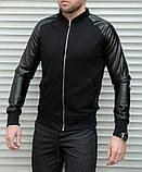 Мужская кофта бомбер с кожаными рукавами, черного цвета, фото 6