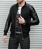 Мужская кофта бомбер с кожаными рукавами, черного цвета, фото 7
