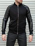 Мужская кофта бомбер с кожаными рукавами, черного цвета, фото 8