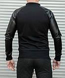 Мужская кофта бомбер с кожаными рукавами, черного цвета, фото 9