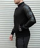 Мужская кофта бомбер с кожаными рукавами, черного цвета, фото 10