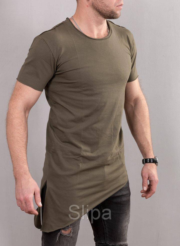 Мужская удлиненная асимметричная футболка, цвета хаки