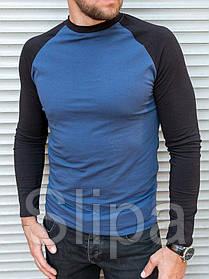 Мужской спортивный лонгслив темно синего цвета