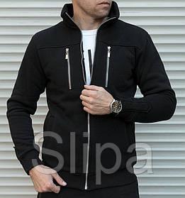 Мужская утепленная толстовка черного цвета с двумя молниями