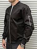 Мужской бомбер casual черного цвета из плотной ткани, фото 6