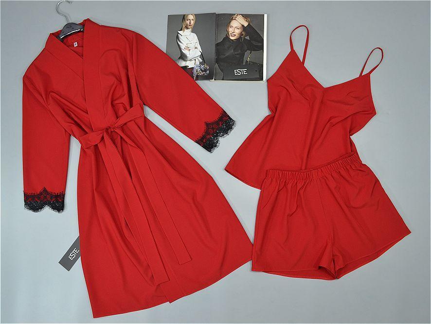 Комплект домашней одежды Este халат и пижама однотонный софт 206-201 красный.